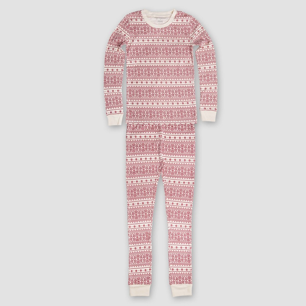 Burts Bees Baby Kids Organic Cotton Fair Isle Pajamas Ivory S, Kids Unisex, White