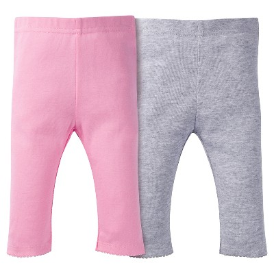 Baby Girls' 2 Pack Pull-on Pants Pink/Grey 6-9M - Gerber®