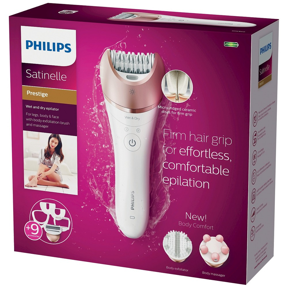 Philips Satinelle Wet & Dry Women's 9pc Rechargeable Electric Epilator/Shaver/Body Comfort Combo - BRE650/50