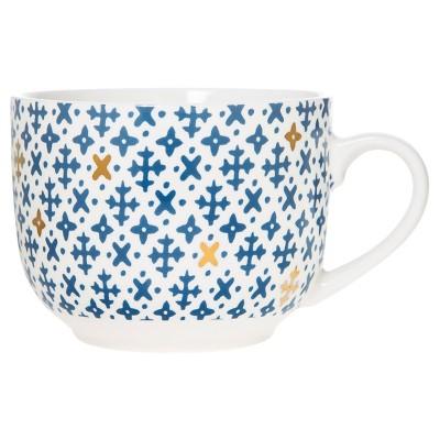 Clay Art Soup Mug 21oz Porcelain 4-Pc. Blue