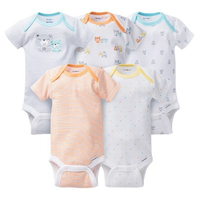 Baby 5 Pack Short Sleeve Bear Onesies Grey NB - Gerber®