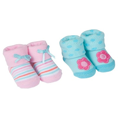 Baby Girls' 2 Pack Flower Bootie Socks 0-6M - Gerber®