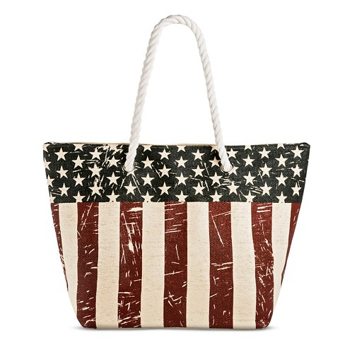 Cappelli Straworld Women's Tote Handbag with American Flag Print and Zip Closure - image 1 of 3