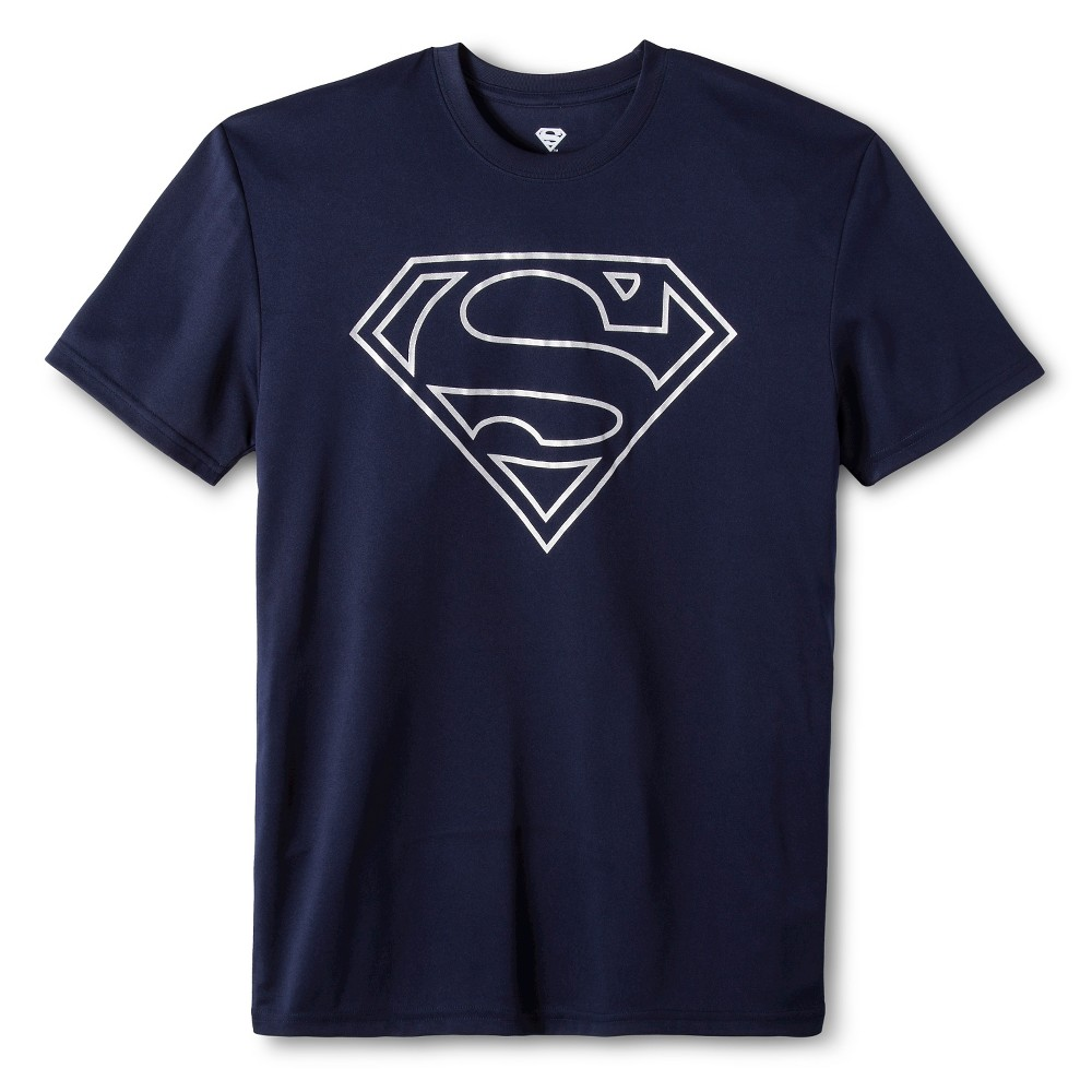 Mens Superman performance tee Navy M, Blue