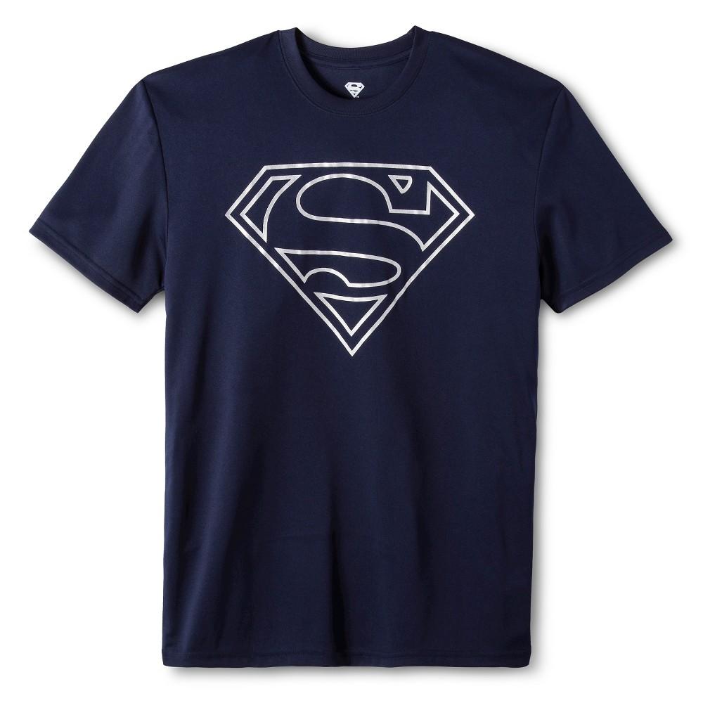 Mens Superman performance tee Navy XS, Blue