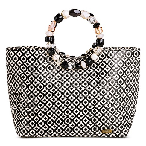 Cappelli Straworld Women's Tote Handbag with Diamond Pattern and Zip Closure - Black/White - image 1 of 2