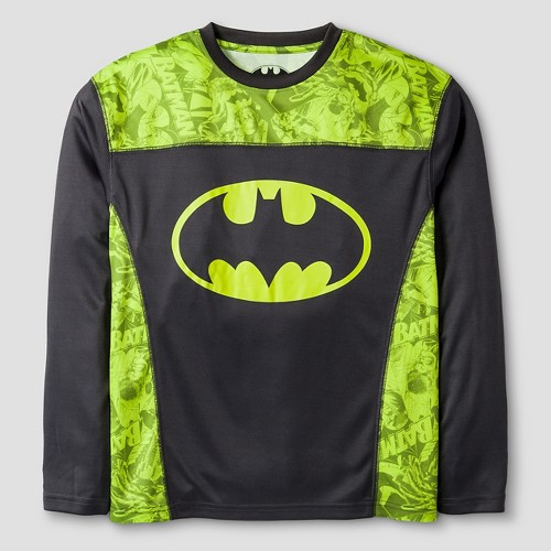 Warner Bros. Boys' Performance Batman Long Sleeve T-Shirt - Yellow M, Boy's, Black