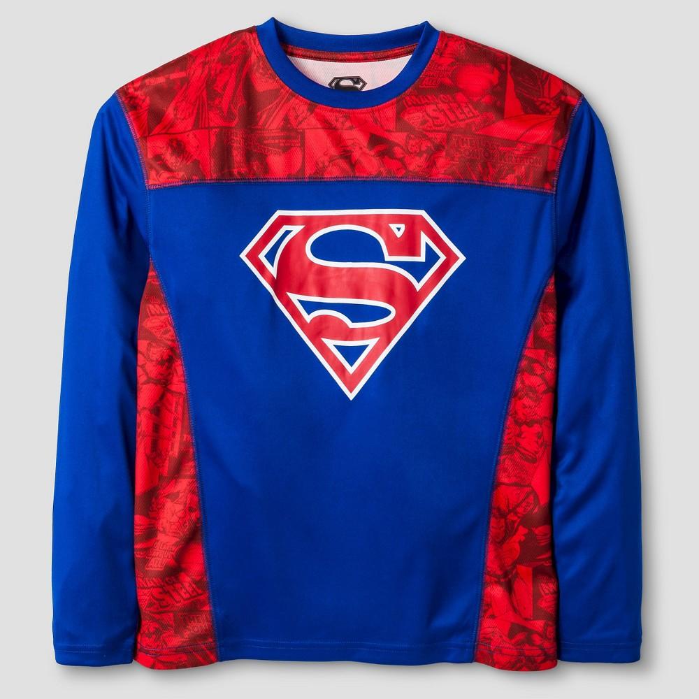 Warner Bros. Boys Performance Superman Long Sleeve T-Shirt - Red L, Blue