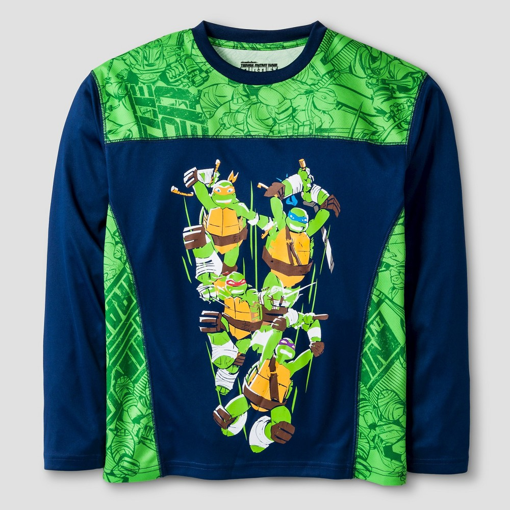 Nickelodeon Boys Performance Ninja Turtle Long Sleeve T-Shirt - Green L