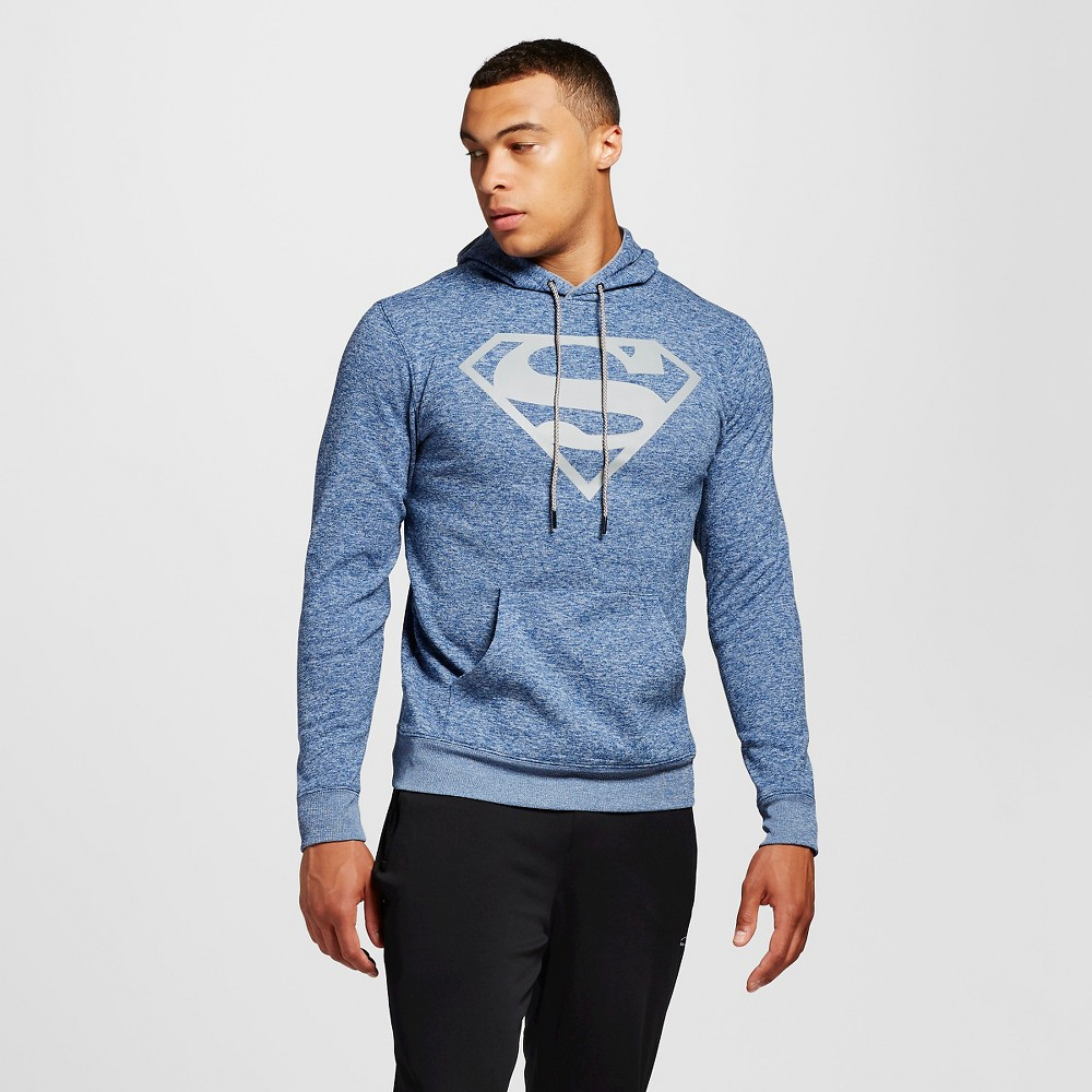 Men's Superman Chunky Pullover Fleece Navy L, Blue