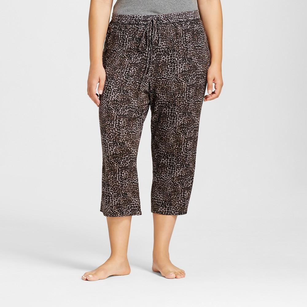 Plus Size Plus Pajama Knit Crop Total Comfort - Animal Print 3X, Womens, Black