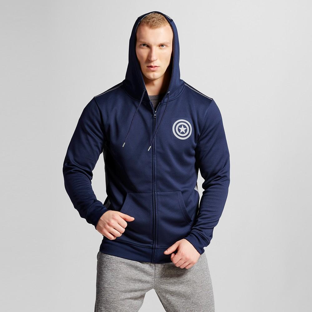Mens Full Zip Captain America waffle fleece Navy XL, Blue