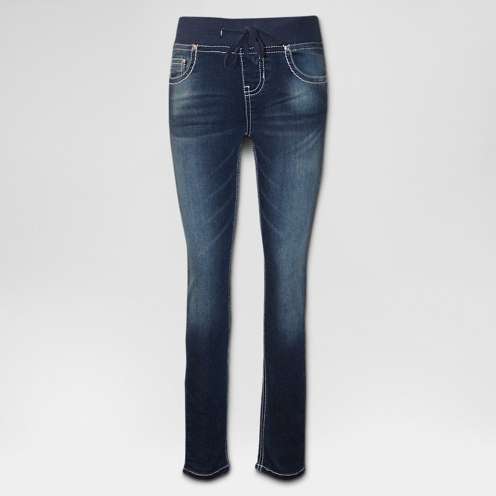 Girls' Seven7 Knit Waist Skinny Jeans - Medium Wash 16, Blue