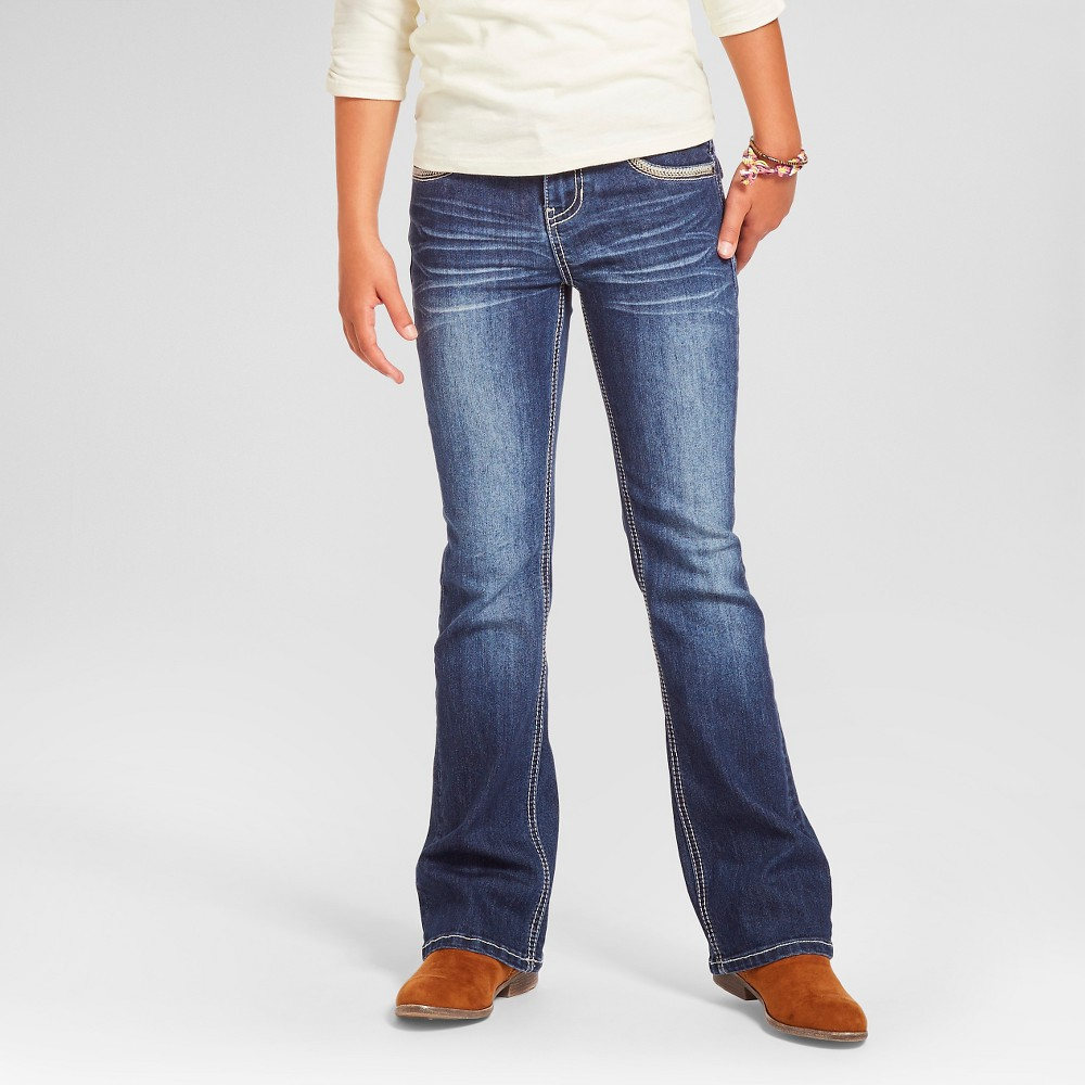 Plus Size Girls Seven7 Bootcut Jeans - Deep Indigo 16 Plus, Blue