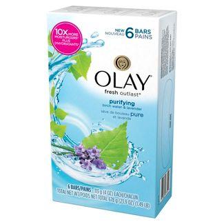 Olay Fresh Outlast Purifying Birch Water & Lavender Beauty Bar - 4oz/6ct