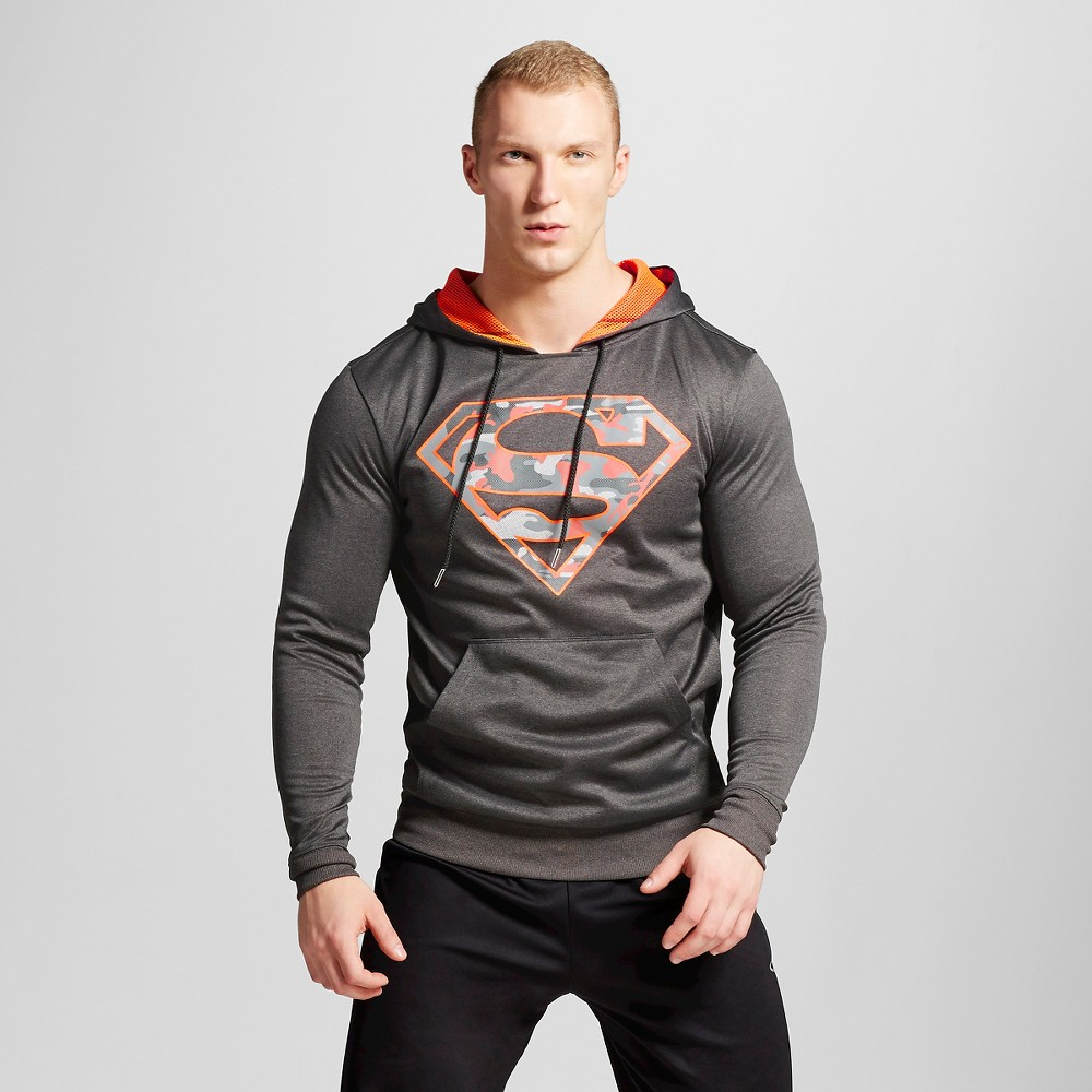 Mens Superman Pullover Poly Fleece Charcoal Heather L, Gray