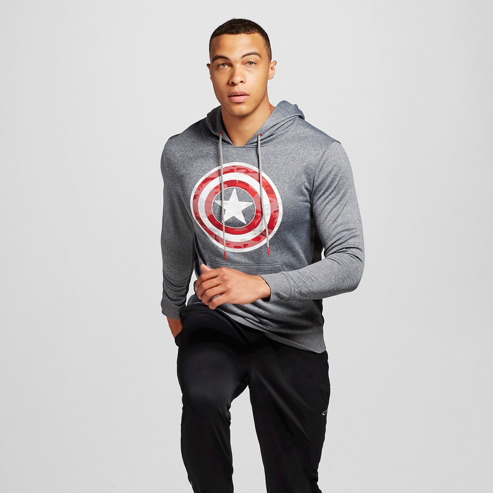 Mens Captain America Pullover Poly Fleece Charcoal Heather M, Gray