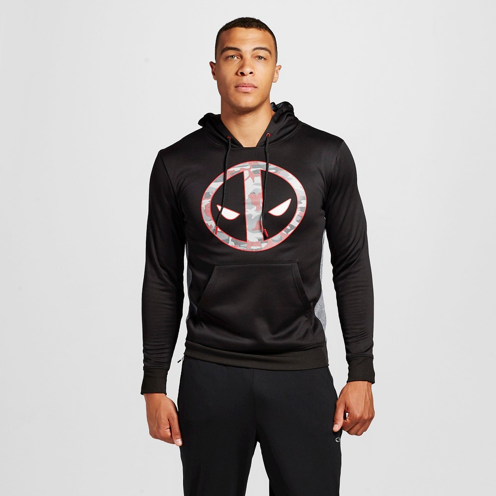 Mens Deadpool Pullover Poly Fleece Black Xxl