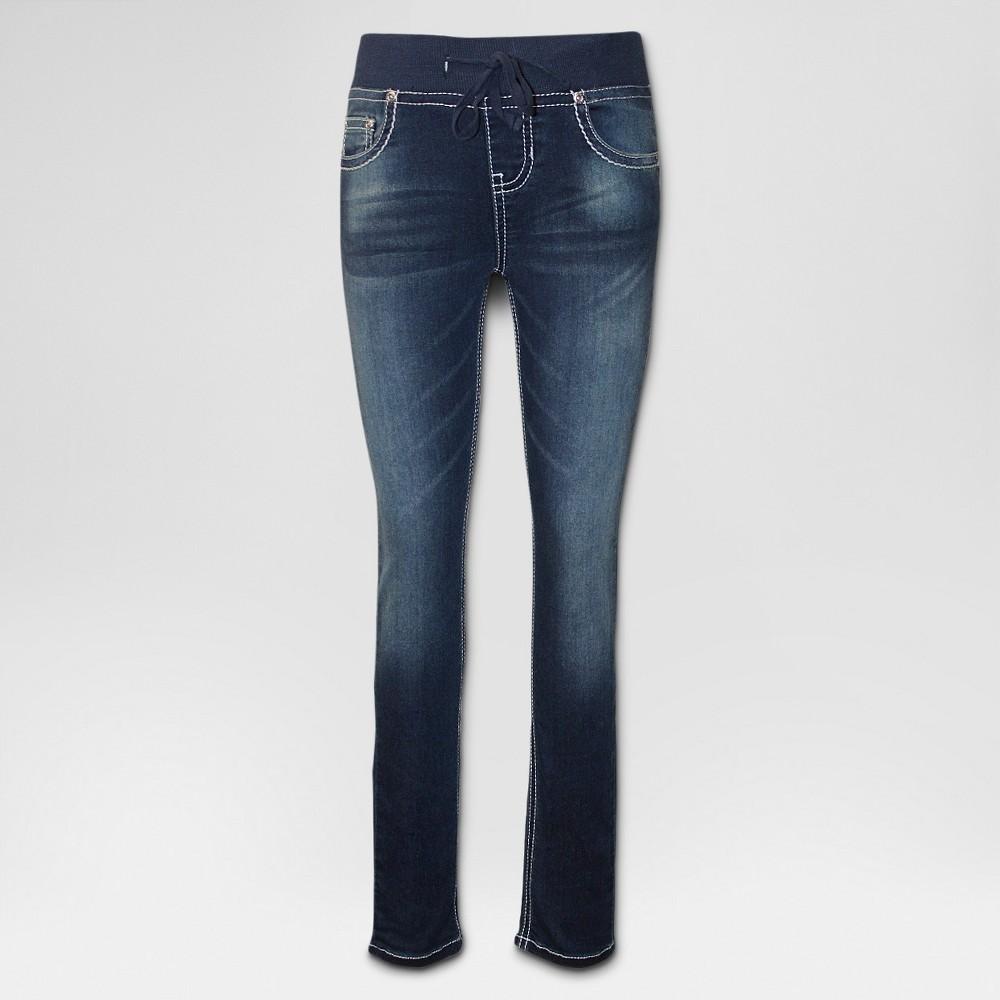 Plus Size Girls' Seven7 Knit Waist Skinny Jeans - Medium Wash 14Plus, Size: 14 Plus, Blue