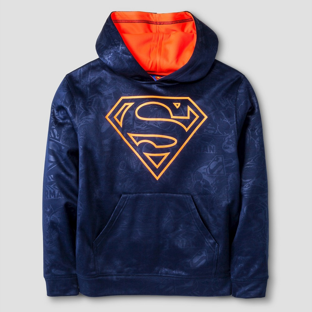 Warner Bros. Boys Performance Superman Sublimated Pullover - Navy XL, Blue