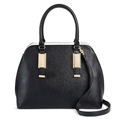 Women's Faux Leather Dome Handbag Black - Mossimo™