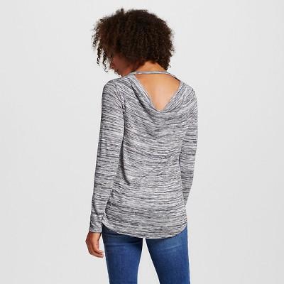Women's Long Sleeve Drapeback Tee Dark Gray Xxl - Mossimo