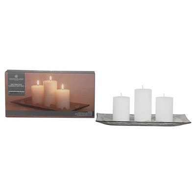 3pc Pillar Candle Set with Plate - Chesapeake Bay Candle®