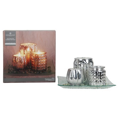 3pc Mercury Glass Candle Set Silver - Chesapeake Bay Candle®