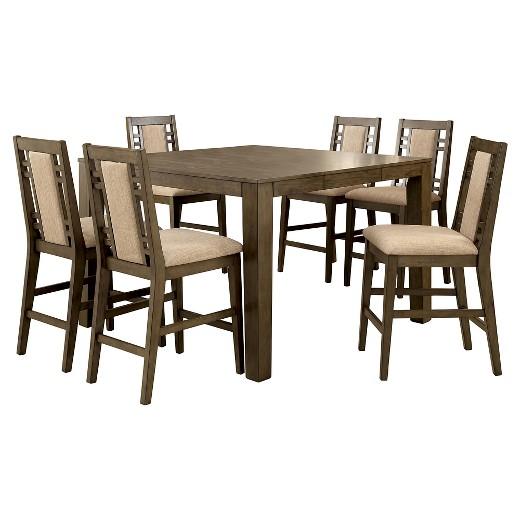 Sun Pine 7pc Modern Bold Counter Height Table Set Weathered Gray Ta
