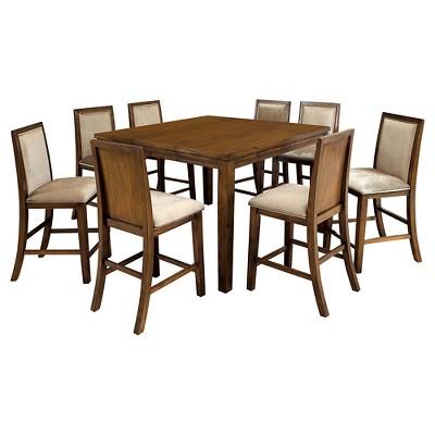 sun u0026 pine 9pc rustic counter height dining set in walnut