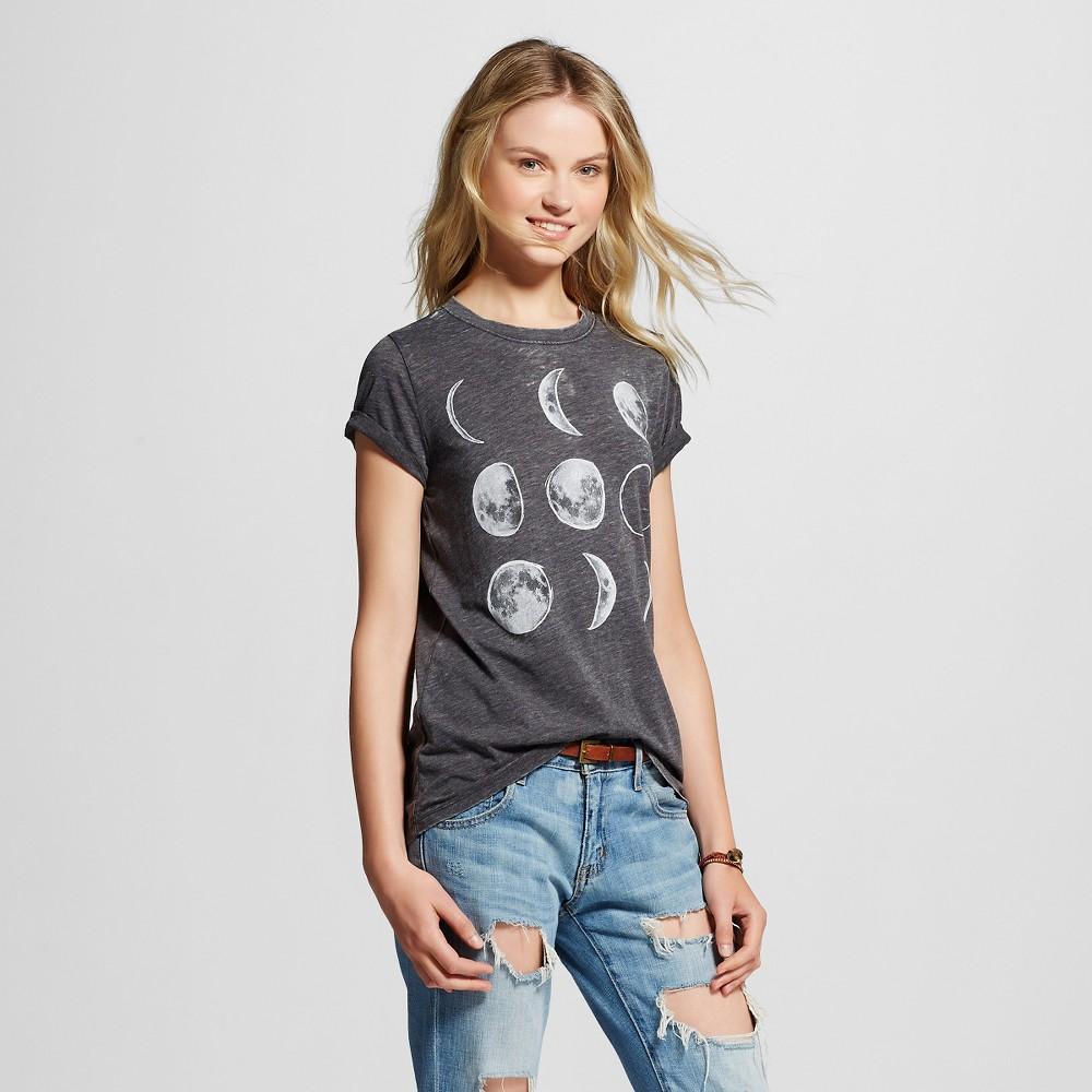 Women's Moon Phases Graphic T-Shirt Black Xxl - L.O.L. Vintage