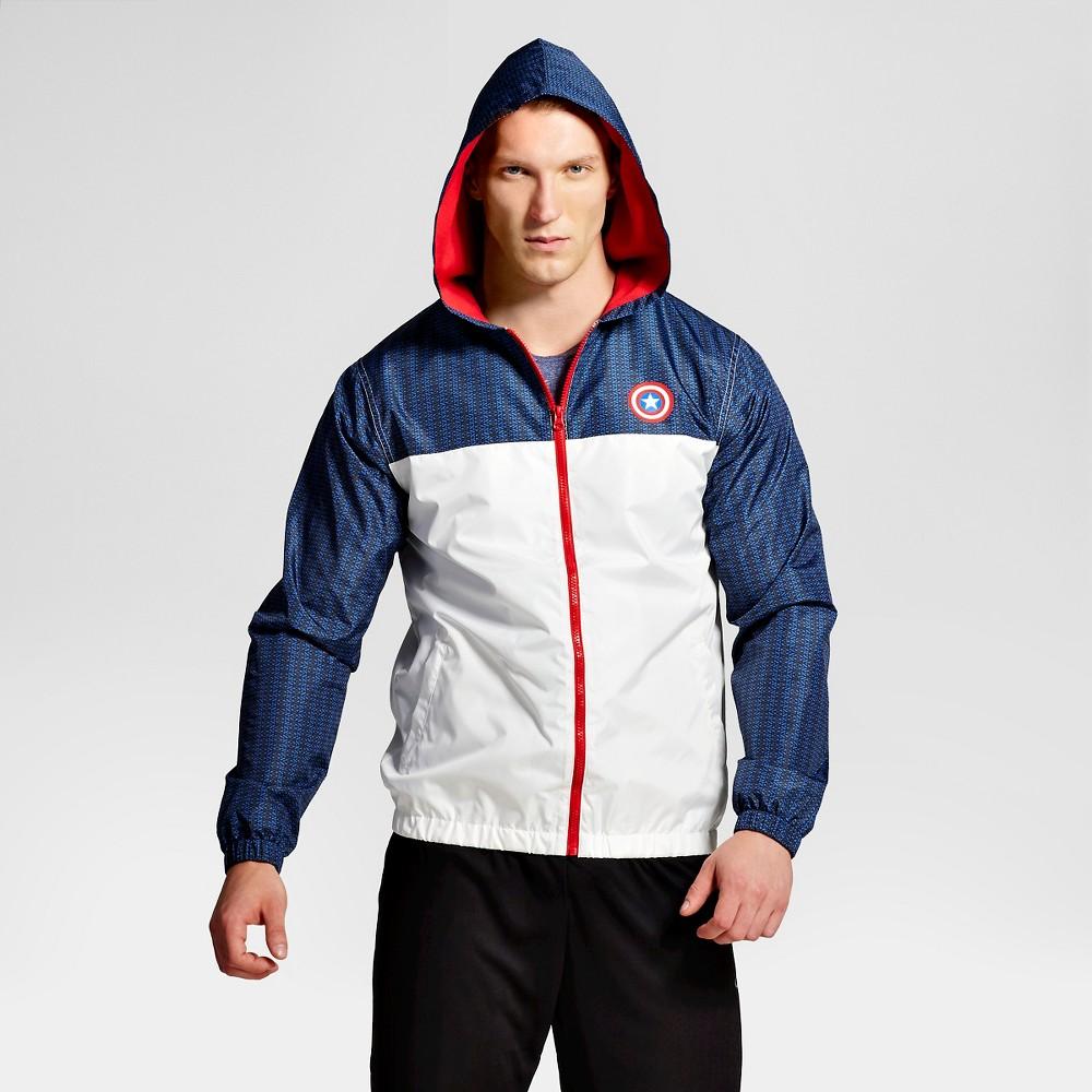Mens Captain America Windbreaker, Size: Xxl, Blue