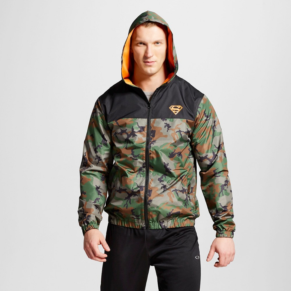 Mens Superman Windbreaker Camo XL, Green
