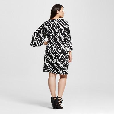 Women's Plus Size Wrap Sleeve Keyhole Shift Dress Black 2X - Notations
