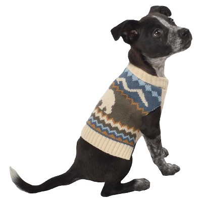Bear Sweater Pet Apparel - XS - Boots & Barkley, Blue Brown Off-White