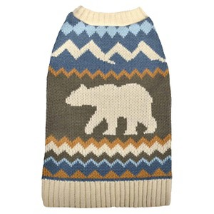 Bear Sweater Pet Apparel L - Boots & Barkley, Blue Brown Off-White
