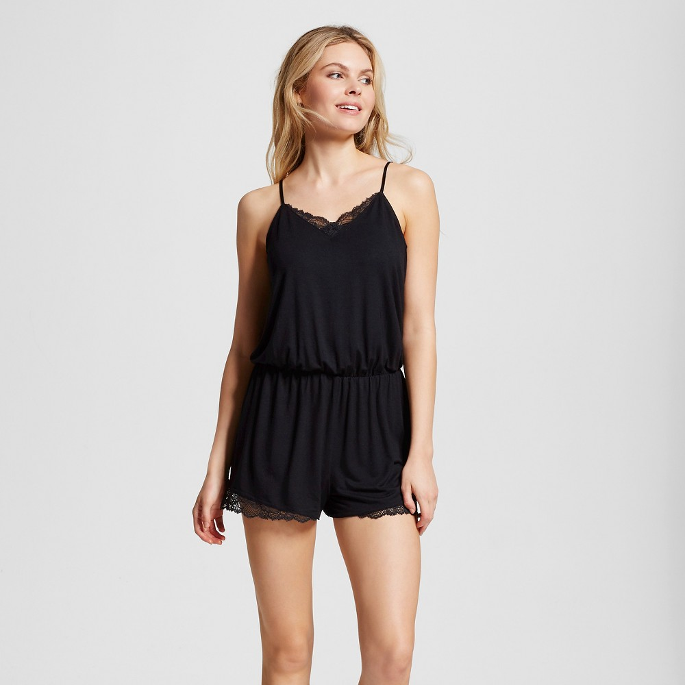 Womens Fluid Knit Romper with Lace - Solid Black L