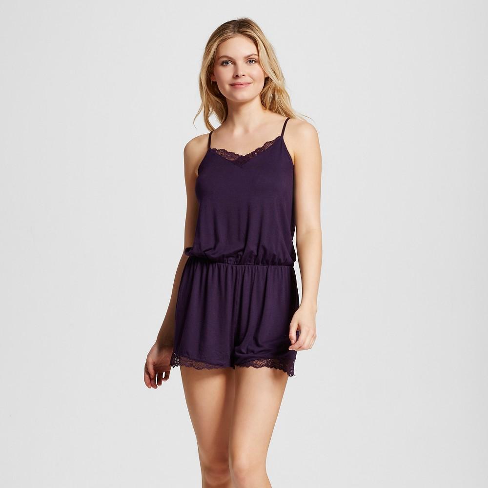Womens Fluid Knit Romper with Lace - Purple Bergamot L