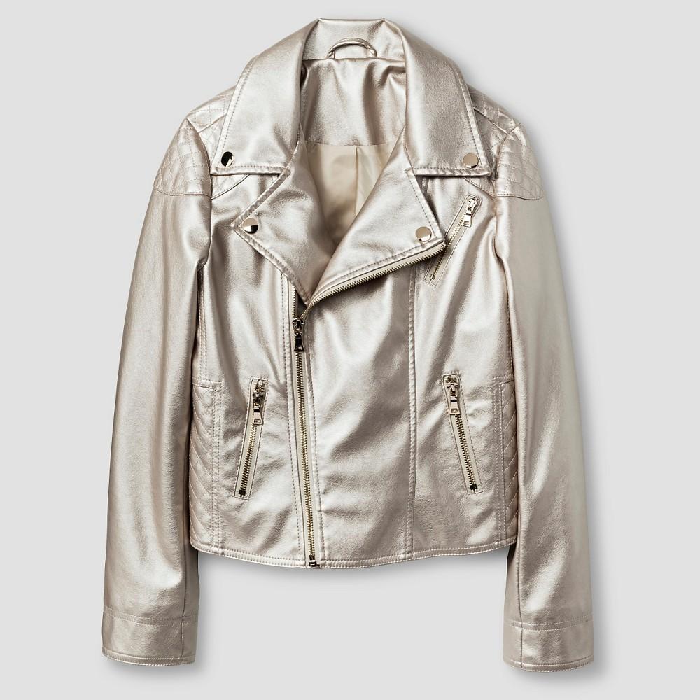 CoffeeShop Kids Girls Metallic Moto Jacket XL - White Gold