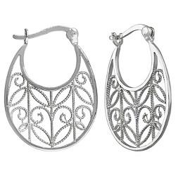 Women's Hoop Earring Sterling Silver with Open Cut Textured Swirl Design - Silver