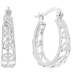 Women's Hoop Earring Sterling Silver with Open Cut Leaf Detail Design - Silver