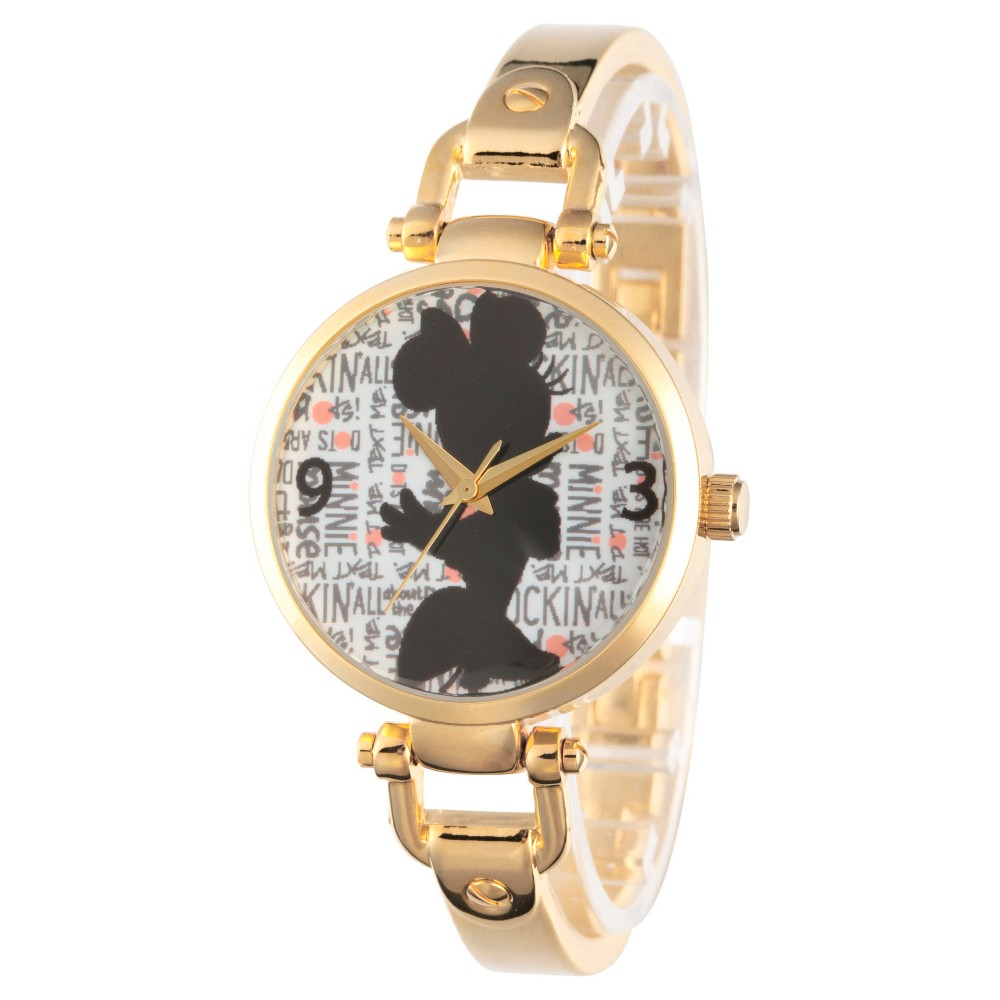 Womens Disney Minnie Mouse Gold Alloy Bridle Watch - Gold, Red