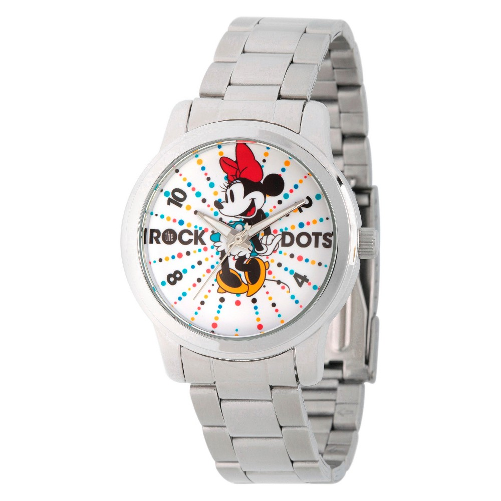 Womens Disney Minnie Mouse Silver Alloy Watch - Silver