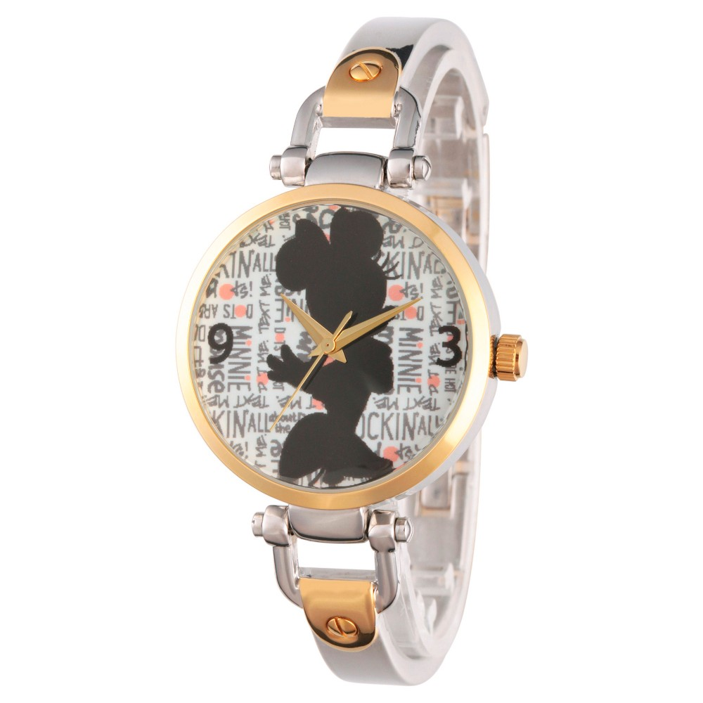 Womens Disney Minnie Mouse Two Tone Alloy Bridle Watch - Two Tone, Red