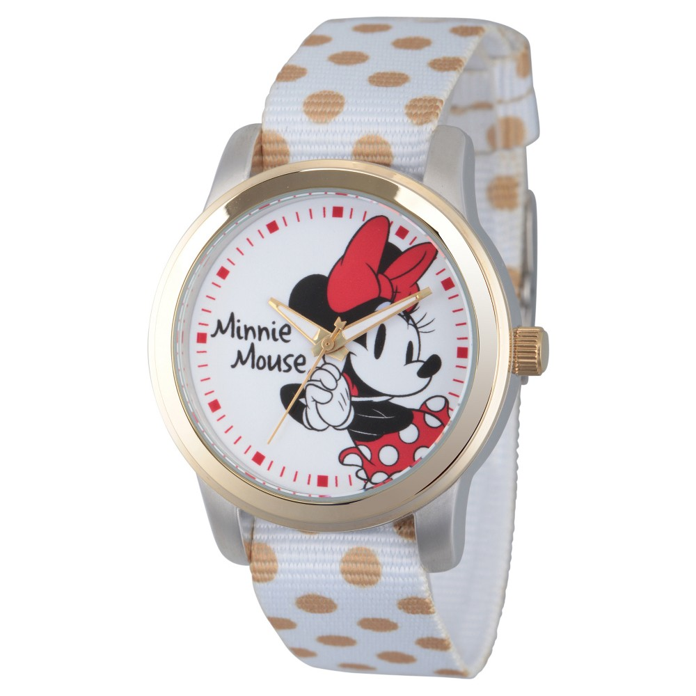 Womens Disney Minnie Mouse Two Tone Alloy Watch - White, Red