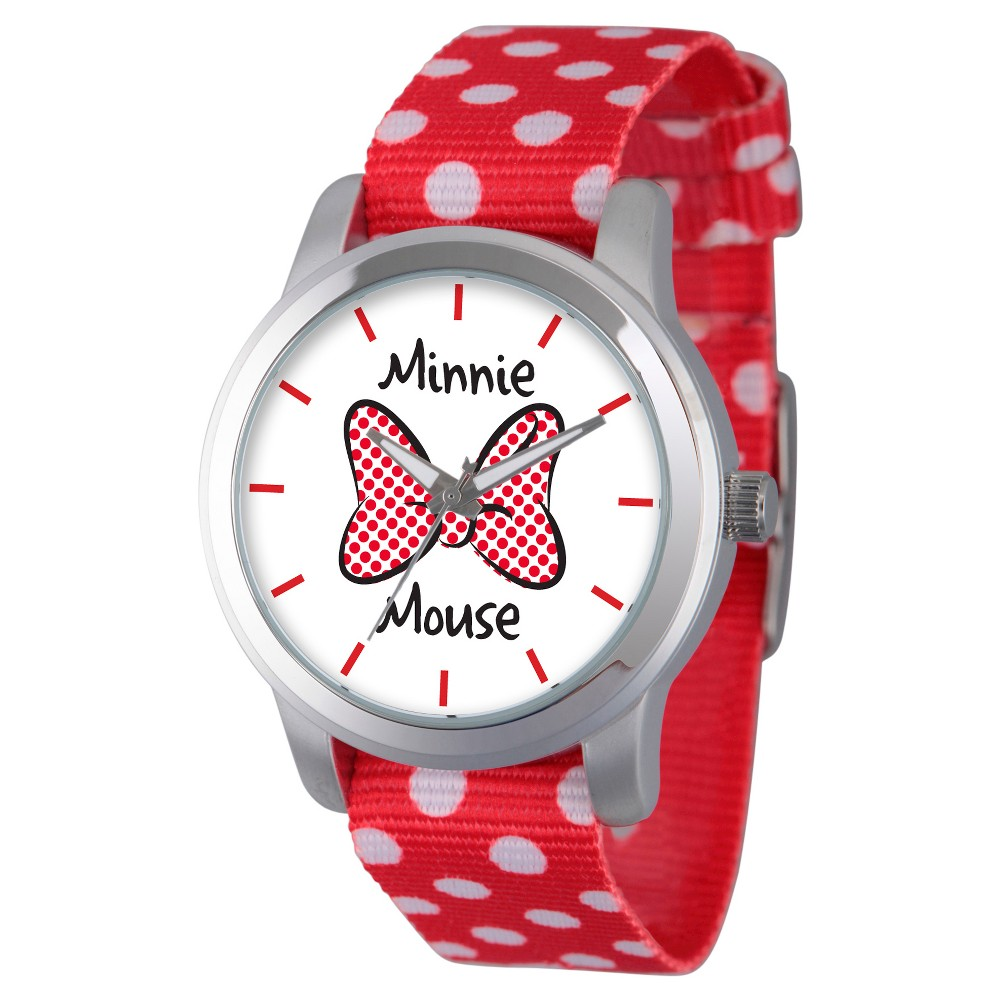 Womens Disney Minnie Mouse Silver Alloy Watch - Red