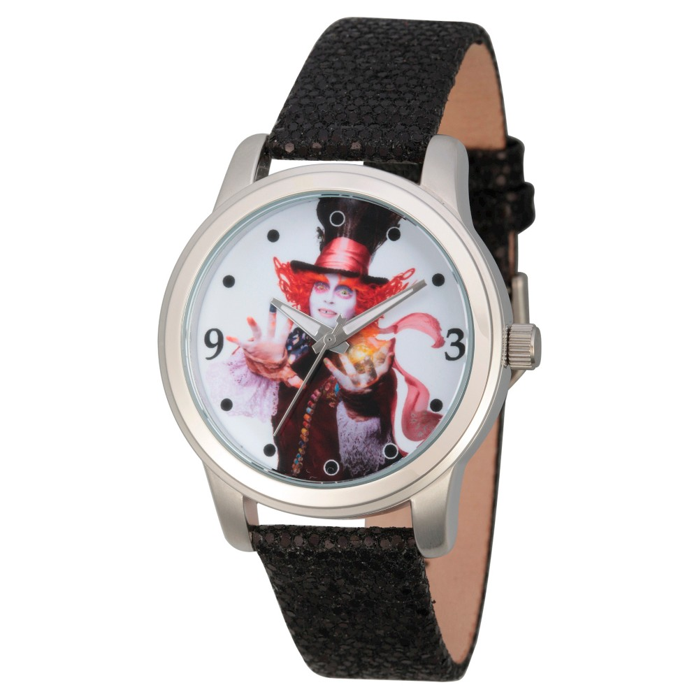 Womens Disney Alice through the Looking Glass The Mad Hatter Silver Alloy Watch - Black, Red
