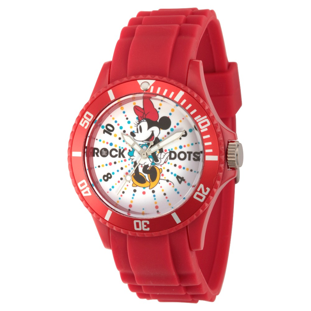 Womens Disney Minnie Mouse Red Plastic Watch - Red