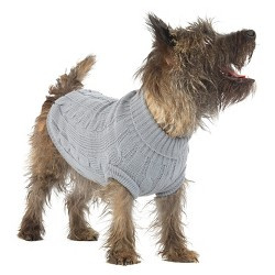 Cable Knit Sweater Dog Costumer - Gray