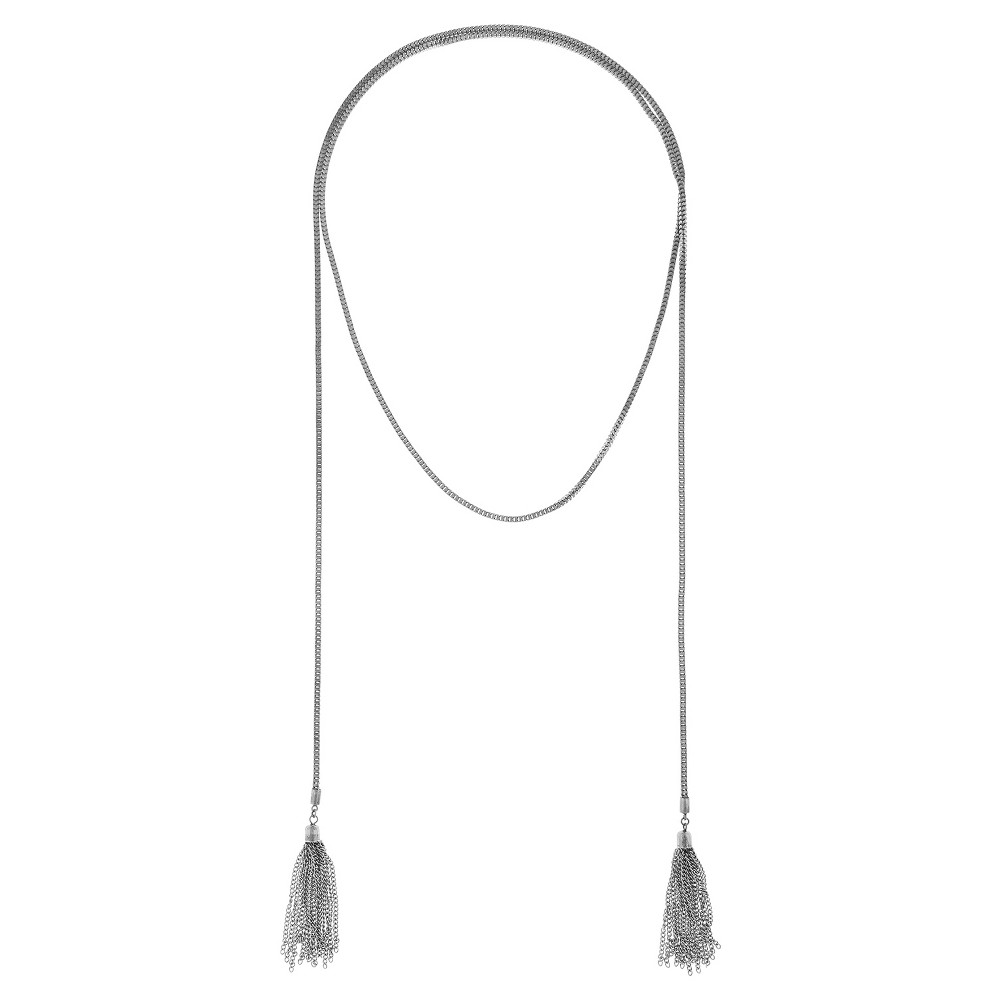 Womens Metal Chain Wrap Necklace with Chain Tassels - Silver Ox